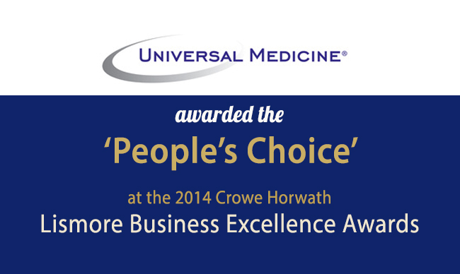 Lismore People's Choice Award Business Excellence Universal Medicine